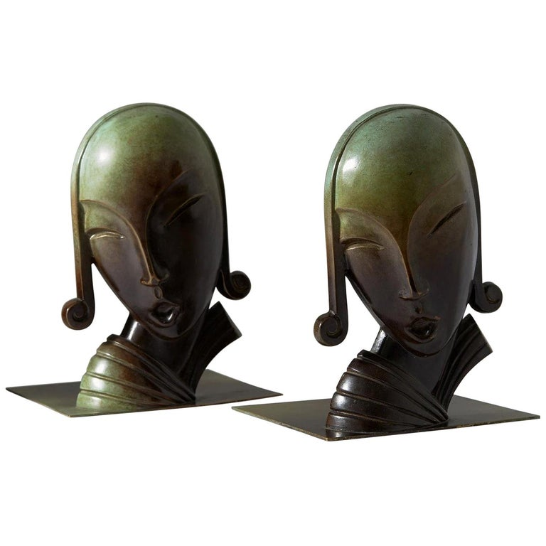 Book Ends, Designed by CE Borgström for Ystad Metall AB, Sweden, 1930s For Sale