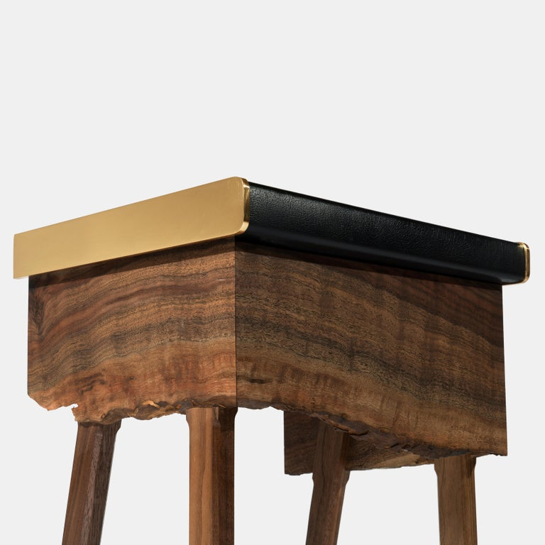 Book Matched Modern Live Edge Walnut Side Tables Drawer Leather and Brass Top For Sale 1
