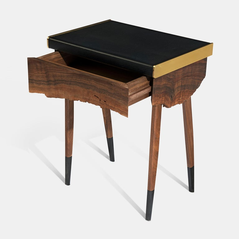 Book Matched Modern Live Edge Walnut Side Tables Drawer Leather and Brass Top For Sale 2