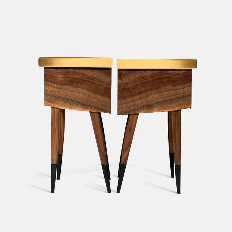 Book Matched Modern Live Edge Walnut Side Tables Drawer Leather and Brass Top For Sale 4