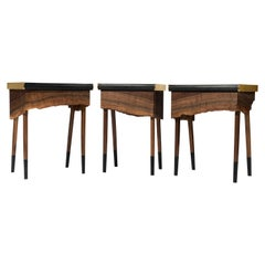 Book Matched Modern Live Edge Walnut Side Tables Drawer Leather and Brass Top
