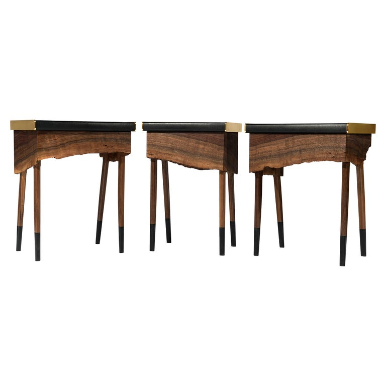 Book Matched Modern Live Edge Walnut Side Tables Drawer Leather and Brass Top For Sale