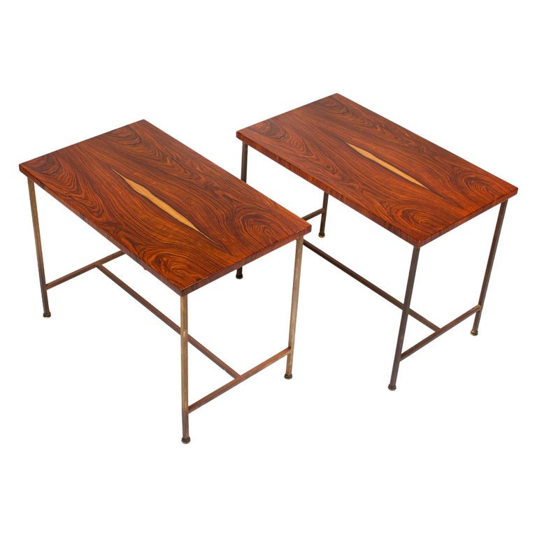 Bookmatched Rosewood Irwin Collection Side Tables by Paul McCobb for Calvin For Sale
