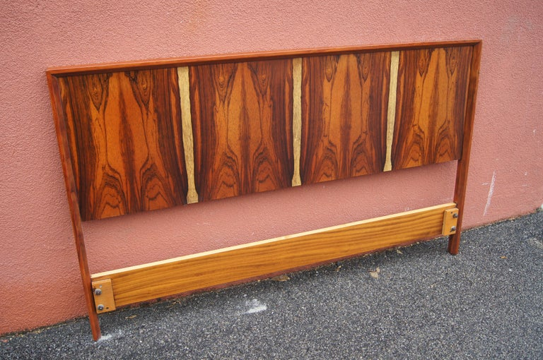 Scandinavian Modern Bookmatched Rosewood and Walnut Queen Headboard by Westnofa For Sale