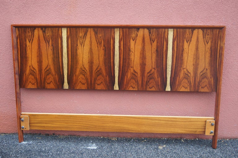 Norwegian Bookmatched Rosewood and Walnut Queen Headboard by Westnofa For Sale
