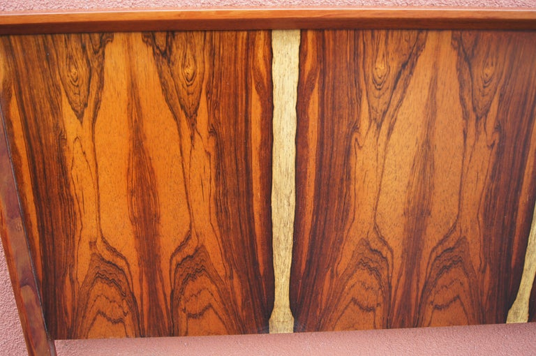 Bookmatched Rosewood and Walnut Queen Headboard by Westnofa In Good Condition For Sale In Boston, MA