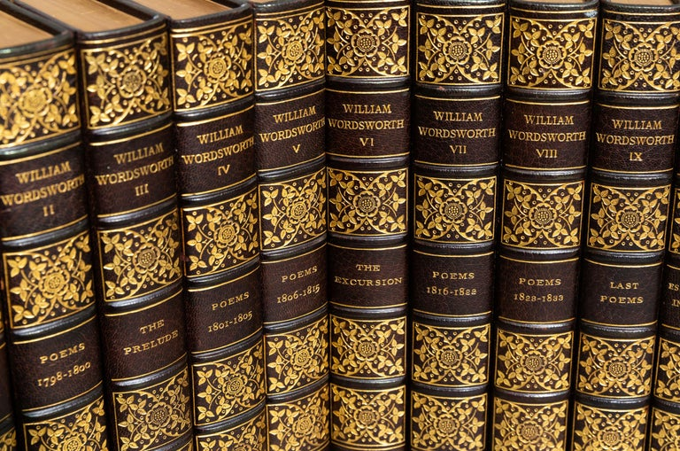 (Book Sets) 10 Volumes. William Wordsworth. The Complete Works. Large paper edition. Limited to 500 sets, this is #55. Bound in 3/4 brown morocco, linen boards, top edges gilt, raised bands, ornate gilt on spines. illustrated. with hand-colored