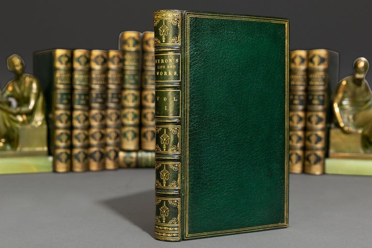 (Book Sets) 17 Volumes. Lord Byron. Works. With His Letters, Journals & His Life by Thomas Moore, Esq. Bound in full green morocco, all edges gilt, raised bands, gilt panels, Illustrated. Published: London: John Murray 1833. Fine set.