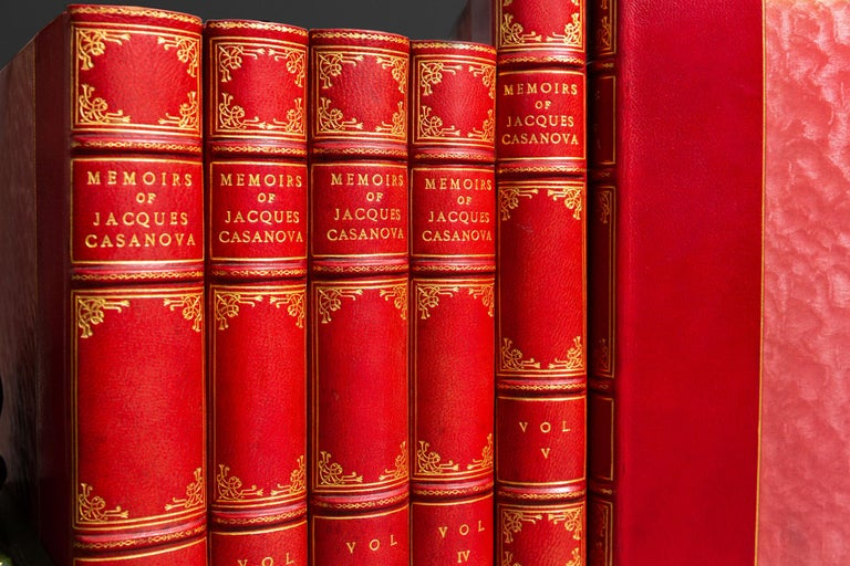 12 Volumes. Jacques Casanova. The Memoirs of Jacques Casanova. An Autobiography. Translated By Arthur Machen With An Appreciation by Havelock Ellis. Bound in 3/4 Red Morocco, raised bands, gilt panels, top edges gilt, limited to 550 sets of an