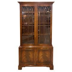 Bookcase 18th Century Style Mahogany English, Hand Glazed Doors