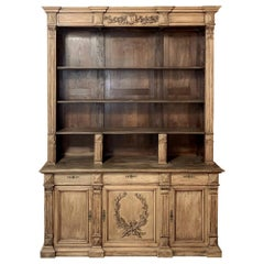 Bookcase, 19th Century French Henri II Bookcase in Walnut and Oak
