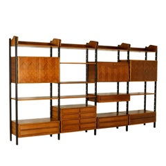 Bookcase Adjustable Elements Walnut Rosewood Vintage, Italy, 1950s-1960s