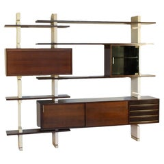 Bookcase Amma Lacquered Wood Brass Turin, Italy, 1960s