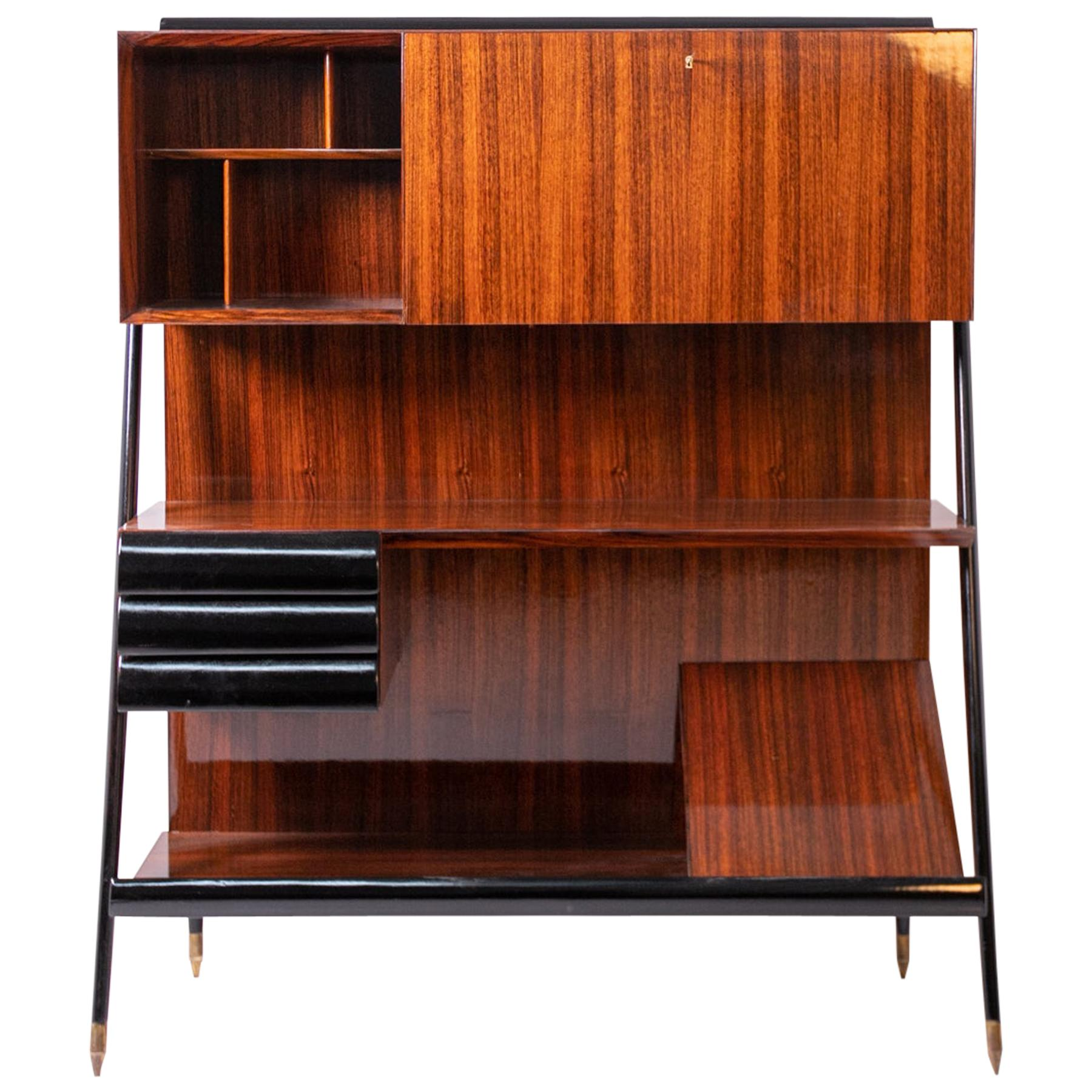 Bookcase Attributed to Ico Parisi in Ebonized Wood, 1950s