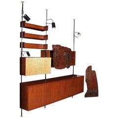 Bookcase Burl Veneer Teak Veneer Solid Wood Brass Metal Italy 1960s