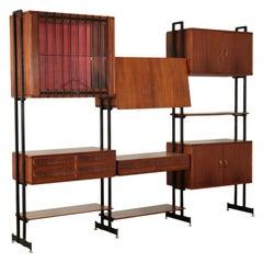 Bookcase Cabinet Mahogany Veneer Metal, Italy, 1950s-1960s