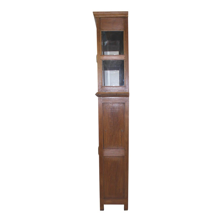 Belgian Bookcase/Cabinet with Sliding Glass Doors, circa 1950 For Sale