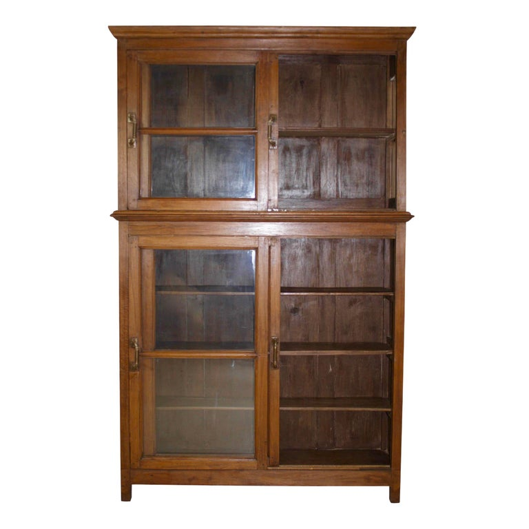 Bookcase/Cabinet with Sliding Glass Doors, circa 1950 In Good Condition For Sale In Evergreen, CO