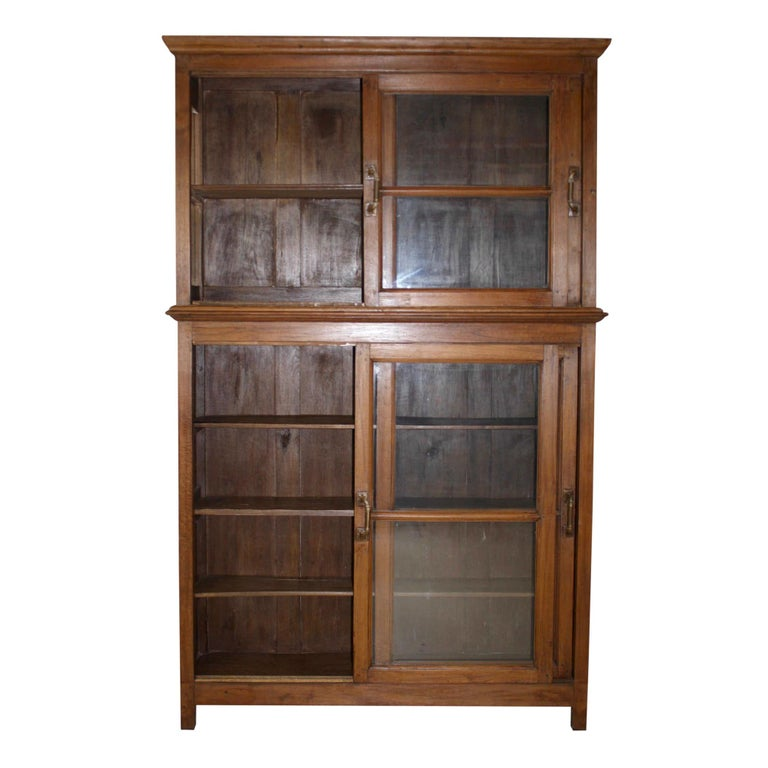 20th Century Bookcase/Cabinet with Sliding Glass Doors, circa 1950 For Sale