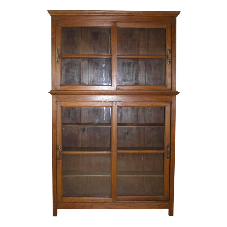 Bookcase/Cabinet with Sliding Glass Doors, circa 1950 For Sale
