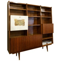 Bookcase Desk in the Style Gio Ponti Italy 1950s Painted Parchment