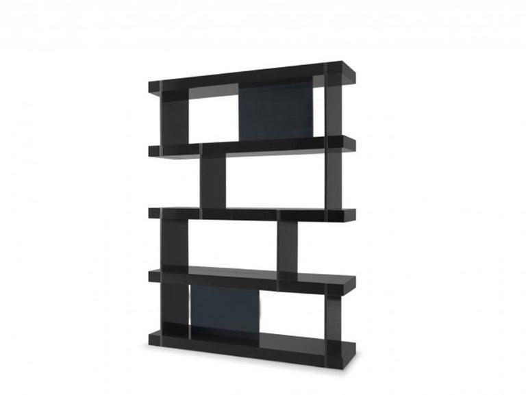 Bookcase, Black lacquered structure Moca lacquered panels Measures: W 130 cm D 35 cm H 176 cm Production time: 6 weeks.