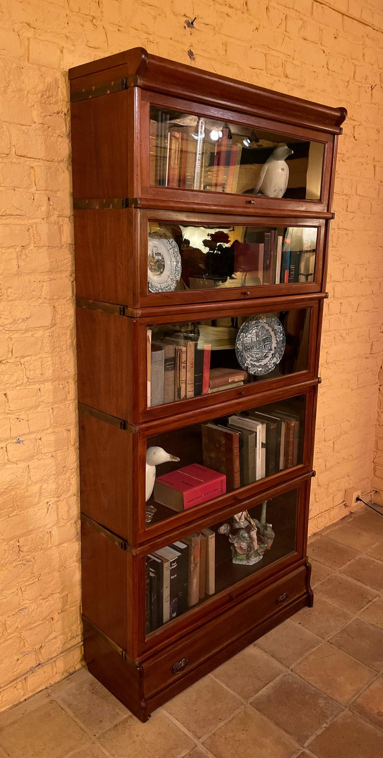Edwardian Bookcase from Globe Wernicke Called Stacking Bookcase in Mahogany-5 Elements For Sale