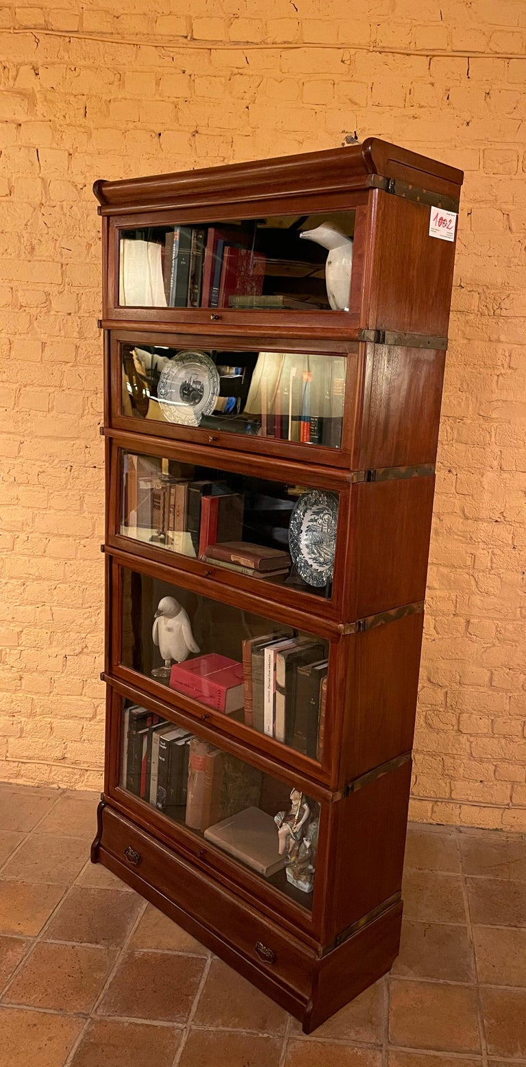 British Bookcase from Globe Wernicke Called Stacking Bookcase in Mahogany-5 Elements For Sale