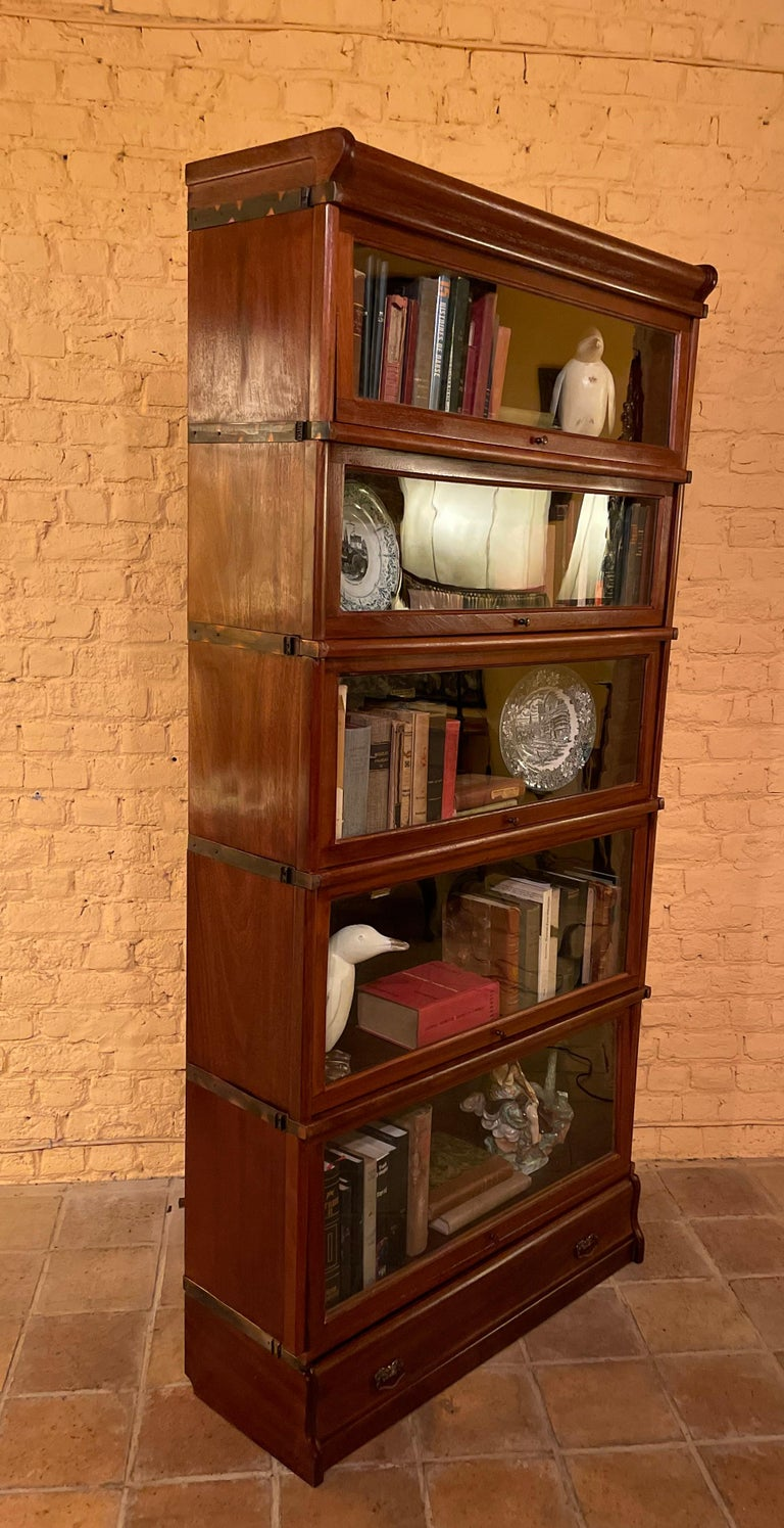 20th Century Bookcase from Globe Wernicke Called Stacking Bookcase in Mahogany-5 Elements For Sale