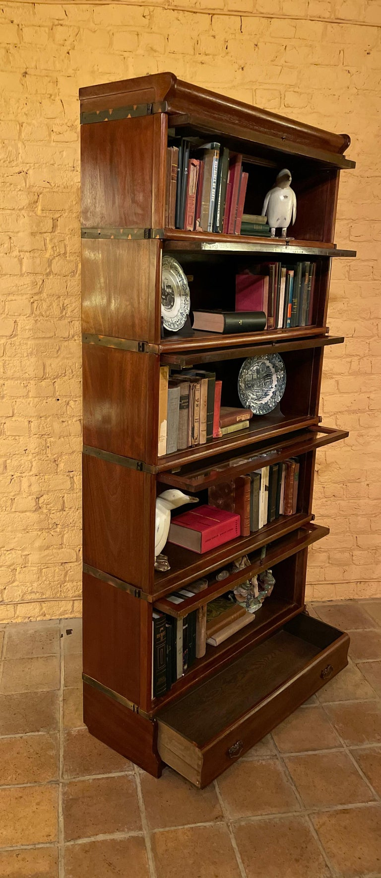 Bookcase from Globe Wernicke Called Stacking Bookcase in Mahogany-5 Elements For Sale 1