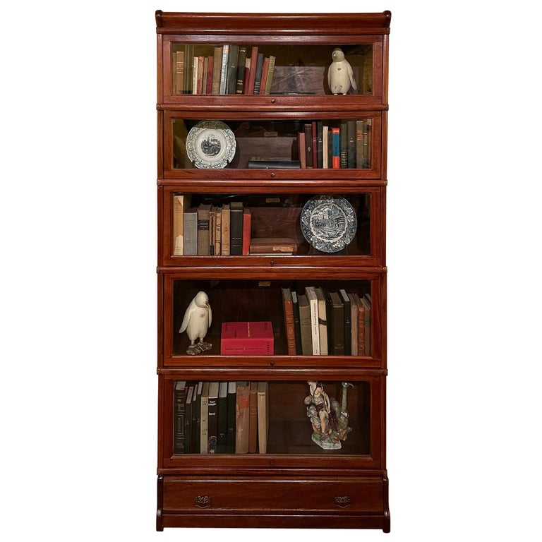 Bookcase from Globe Wernicke Called Stacking Bookcase in Mahogany-5 Elements For Sale