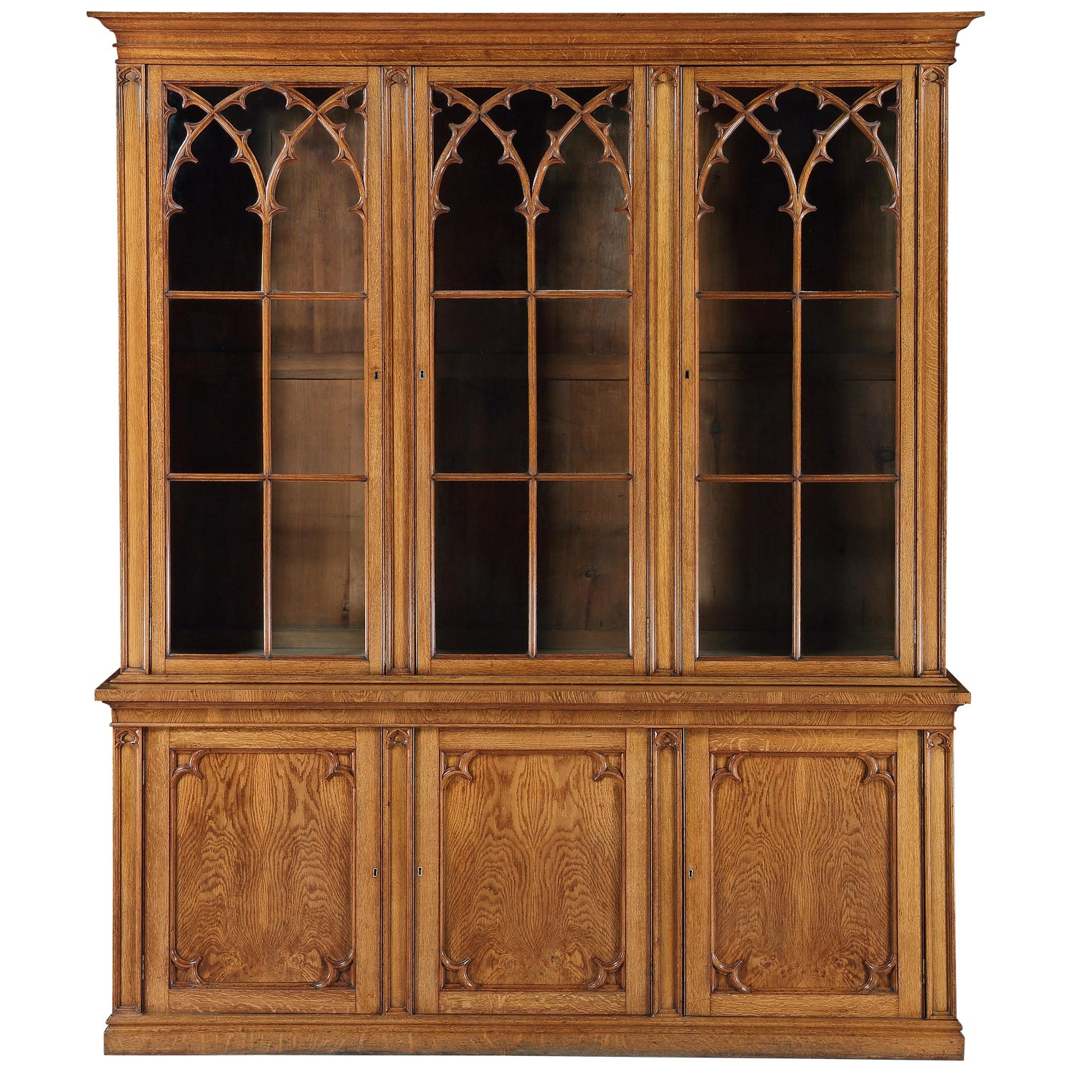 Bookcase, Glazed, Free-standing, Full-height, Gothic, Oak