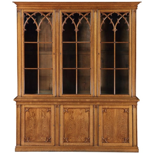Bookcase, Glazed, Free-standing, Full-height, Gothic, Oak