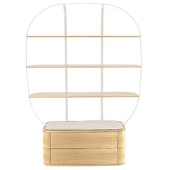 Bookcase Klec L in Light Oak and White Lacquered Metal