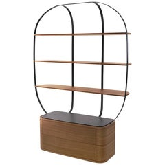 Bookcase Klec S in Mahogany and Black Lacquered Metal