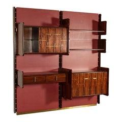 Bookcase La Permanente Mobili Cantù Wood Brass Leatherette, 1950s