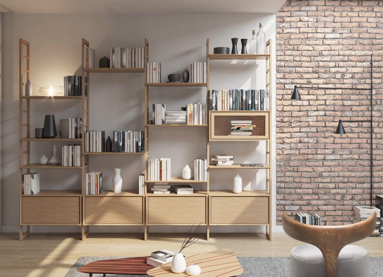 Italian Bookcase Made of Cherrywood For Sale