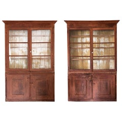 Bookcase, Pair of 18th Century Italian Bookcase, Wood and Glass, Italy
