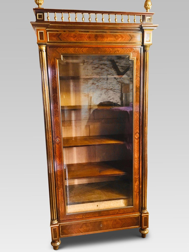 Fine quality French rosewood bookcase with single door, ormolu fittings and a superb color and patina. This delightful bookcase dates back to the 1880s and was recently acquired from an area to the North of Paris. Having been well maintained by