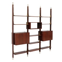 Bookcase Rosewood Veneer Brass and Solid Rosewood, Italy, 1960s