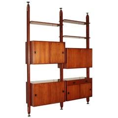 Bookcase, Solid Wood and Teak Veneer, Italy 1960s Italian Production