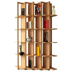 Bookcase & Space Divider Transversal, Made of Maple Solid Wood