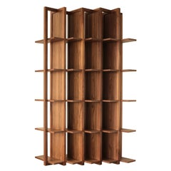 Bookcase and Space Divider Transversal, Made of Walnut and Tzalám Solid Wood