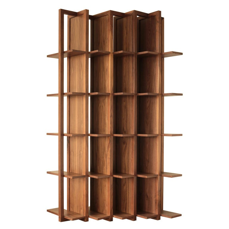 Bookcase and Space Divider Transversal, Made of Walnut and Tzalám Solid Wood For Sale
