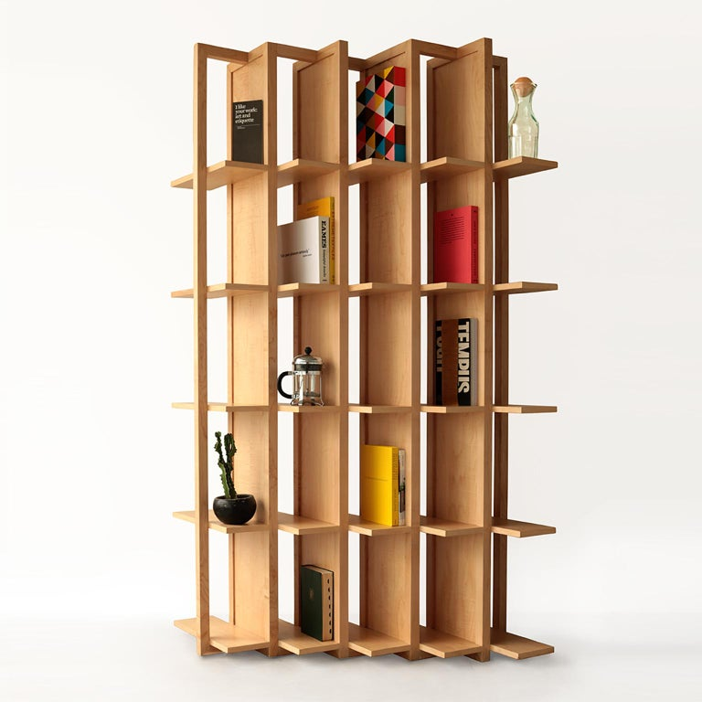 Contemporary Bookcase and Space Divider Transversal, Made of Walnut and Tzalám Solid Wood For Sale