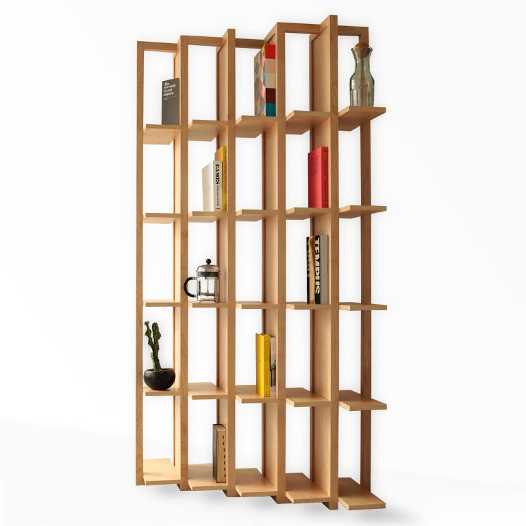 Bookcase and Space Divider Transversal, Made of Walnut and Tzalám Solid Wood For Sale 1