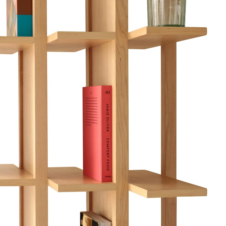 Bookcase and Space Divider Transversal, Made of Walnut and Tzalám Solid Wood For Sale 2