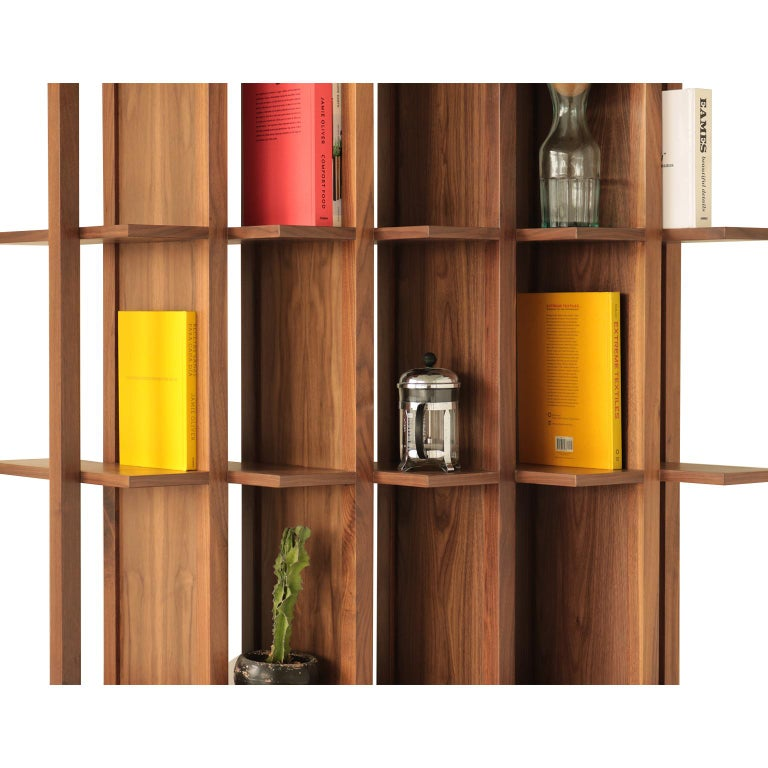 Mexican Bookcase and Space Divider Transversal, Made of Walnut and Tzalám Solid Wood For Sale