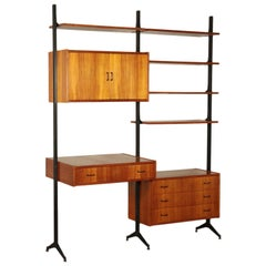 Bookcase, Teak Veneer and Metallic Enameled, Italy, 1950s-1960s