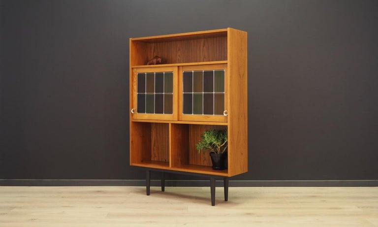 Veneer Bookcase Teak Vintage Danish Design For Sale